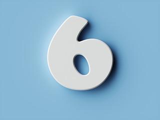 White paper digit alphabet character 6 six font