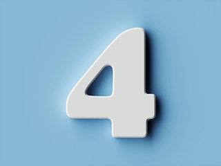 Fototapeta White paper digit alphabet character 4 four font obraz