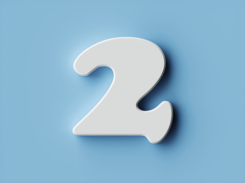 White paper digit alphabet character 2 two font