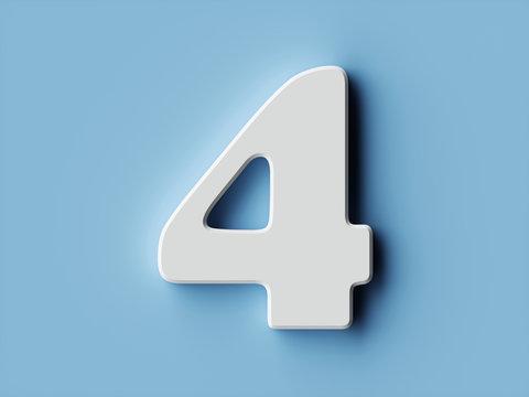 White paper digit alphabet character 4 four font