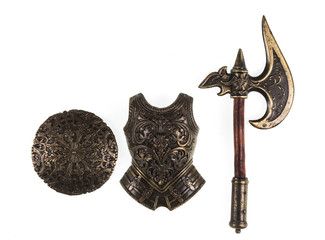 knight armor and weapons on a white isolated background
