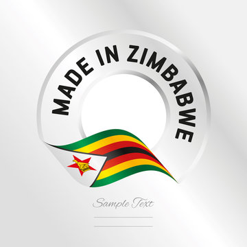 Made in Zimbabwe transparent logo icon silver background stamp