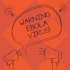 Handwriting text Warning Ebola Virus. Concept meaning inform showing demonstrating about this deadly disease Freehand Outline Sketch of Blank Speech Bubble Megaphone Sound Idea Icon