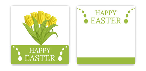 Vector Easter Party Invitations and Greeting Cards with yellow tulips. Easter card. Vector illustration.