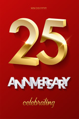 25 golden numbers and Anniversary Celebrating text on red background. Vector vertical twenty fifth anniversary celebration event invitation template.