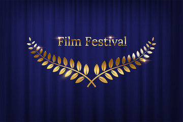 Golden shiny award laurel wreaths and Film Festival text isolated on blue curtain background. Vector design element.