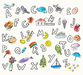 Hand drawn ink and watercolor stain picture alphabet