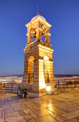 Greece, Athens, Mount Lycabettus, bell tower of the Church