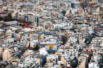 Aerial view of Athens as seen from Lycabettus hill, Athens historic center, Attica, Greece