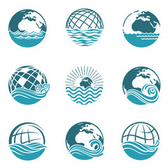 collection of earth icons with sea waves isolated on white background