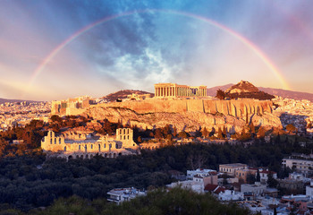 Acropolis of Athens, Greece, with the Parthenon Temple during sunset with rainbow