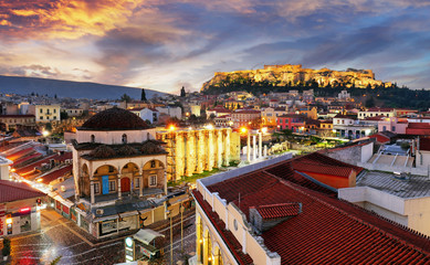 Panoramic view over the old town of Athens and the Parthenon Temple of the Acropolis during sunrise