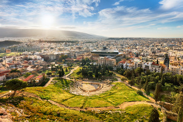 Theatre of Dionysus with sun - view from Acropolis Hill of Athens, Greece