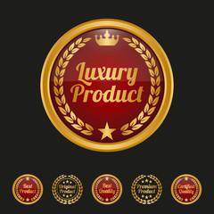 Luxury product label on black background.