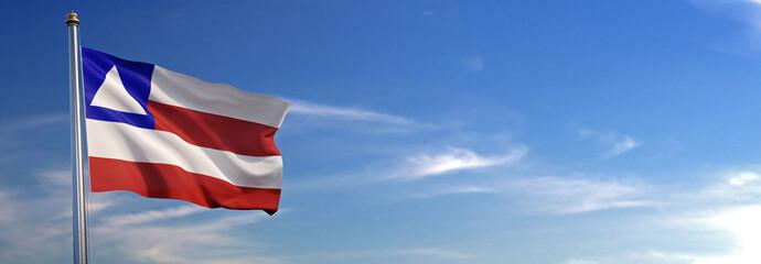 Bandeira do Bahia subir acenando para o vento com o céu ao fundo