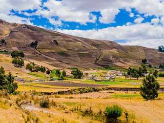 Foto op Canvas Zuid-Amerika land Ecuador, scenic andean landscape between Zumbahua canyon and Quilotoa lagoon with peasant village and cultivated fields