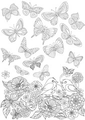 flying butterflies above blossom garden for your coloring page