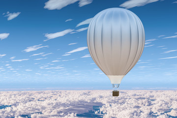 Hot air balloon, aerostat in the blue sky above the clouds. 3D rendering