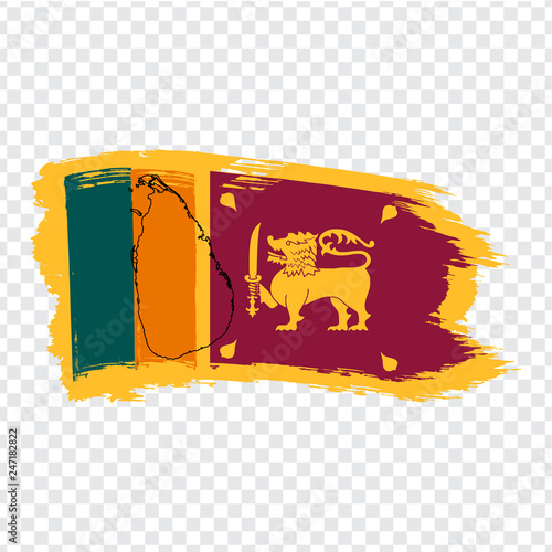 Flag Sri Lanka from brush strokes and Blank map Sri Lanka. High ...