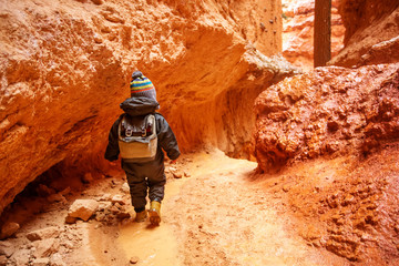 Boy hiking in Bryce canyon National Park, Utah, USA
