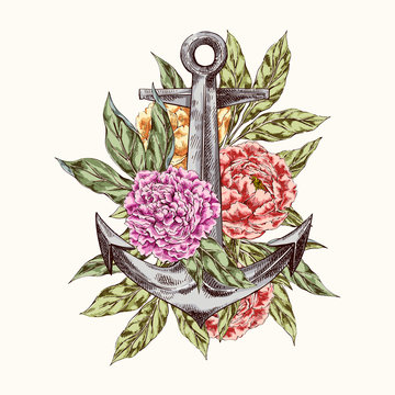 Anchor with flowers logo