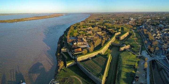 Aerial view, Blaye Citadel, UNESCO world heritage site in Gironde, France