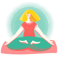 Yoga time. Woman in lotus position practicing yoga meditation