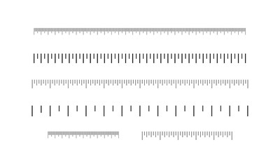 Rulers set, inches and centimeters. Measuring scale.