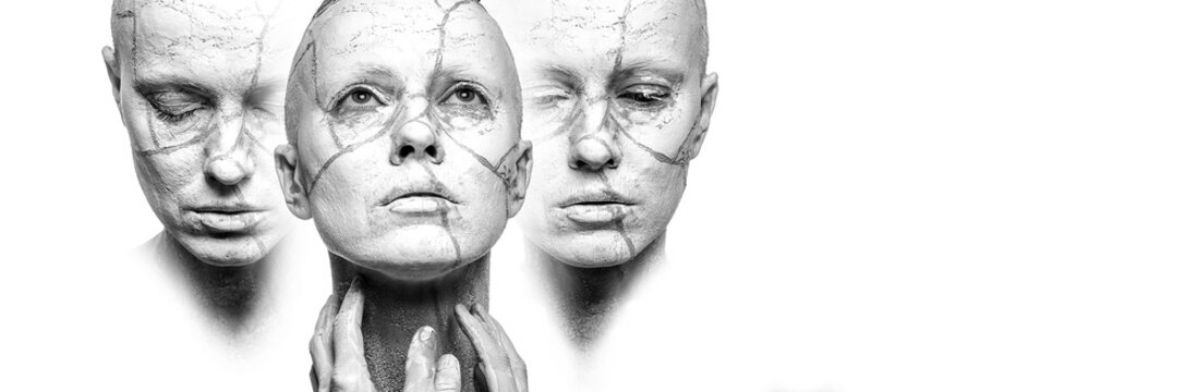 Stages of acceptance. Three woman faces with clay on face, black and white, copy space