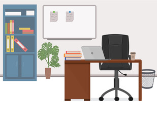 Office workplace, office chief vector illustration in flat style