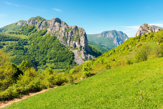 mountains of romania with steep cliffs above narrow valley. landscape with unusual land forms. beautiful springtime scenery. view from grassy hill