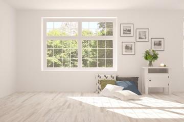 White stylish empty room with summer landscape in window. Scandinavian interior design. 3D illustration