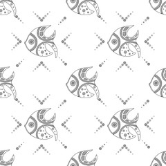 Vector hand drawn black and white seamless pattern, illustration of fish with decorative geometrical elements, lines, dots. Line drawing. Graphic artistic design.