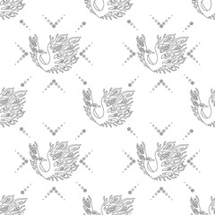 Vector hand drawn black and white seamless pattern, illustration of birds with decorative elements, branch, leaves, flowers, dots. Graphic artistic design. Line drawing.