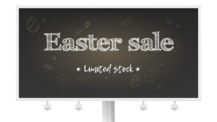 Easter sale limited stock. Billboard with holiday ad on chalk blackboard. Handwritten text on background of pattern in doodle style Blackboard with drawing for holidays sale actions, 3d illustration