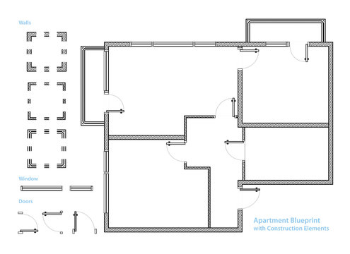 Floor Plan. Apartment Blueprint with Construction Elements. House Project. Vector Illustration
