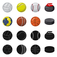 Vector design of sport and ball sign. Collection of sport and athletic stock symbol for web.