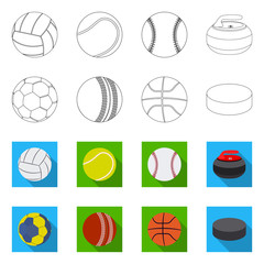 Vector illustration of sport and ball icon. Set of sport and athletic stock vector illustration.