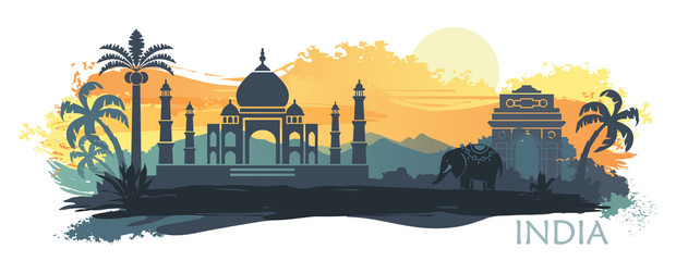Stylized landscape of India with the Taj Mahal, an elephant and a dancer. Vector background Fotomurales
