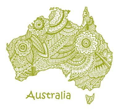 Textured vector map of Australia. Hand drawn ethno pattern, tribal background.