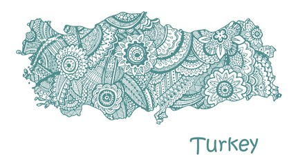 Textured vector map of Turkey. Hand drawn ethno pattern, tribal background.