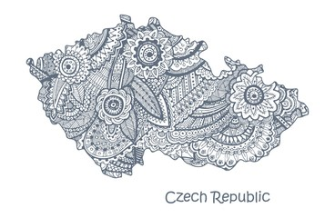 Textured vector map of Czech Republic. Hand drawn ethno pattern, tribal background.