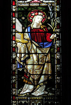 Saint Cecilia, stained glass of All Saints' Anglican Church, Rome, Italy