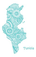 Textured vector map of Tunisia. Hand drawn ethno pattern, tribal background.