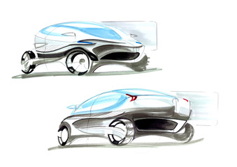 This is sketch of car. It is futuristic vehicle which has strange properties. It can be cleaning air throught his wheel.