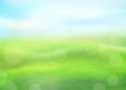 Green nature background on a blurred of grass and sky and bokeh effect. View with copy space add text. Vector
