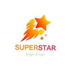Burning star flat vector logo design