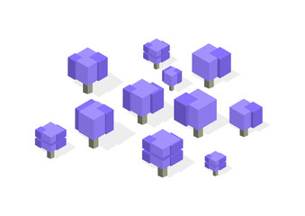 Creative square cubic trees. Isometric vector illustration of different types of wood for game design. Vector graphics.