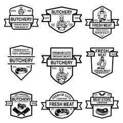 Set of meat store labels. Design element for logo, label, emblem, sign, badge.
