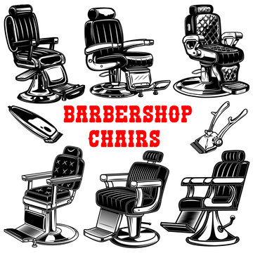 Set of barber shop chair illustrations. Design element for logo, label, emblem, sign.